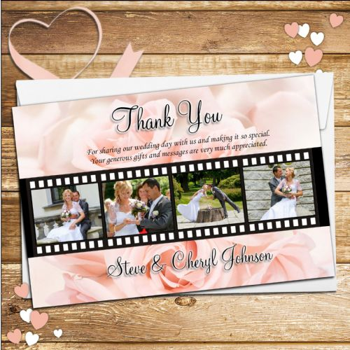 10 Personalised Wedding Day Thank you Photo cards N152